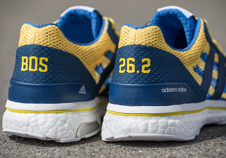 adidas adizero adios boost 3 boston marathon 2017 Adidas Adios Boston 2017   B.A.A.'s  blue and yellow.